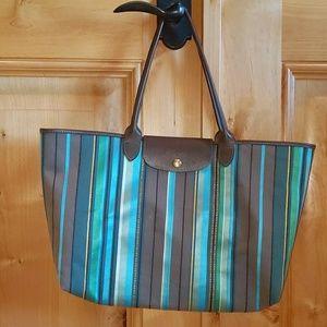 NWOT Longchamp Multi Stripe Canvas/Leather Tote